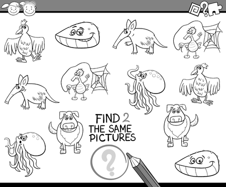 accurately: Black and White Cartoon Illustration of Looking for the Same Picture Educational Task for Preschool Children with Animal Characters for Coloring Book