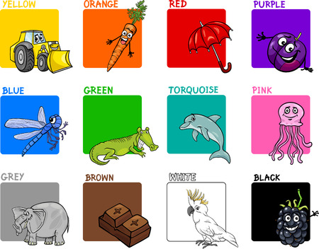 primer: Cartoon Illustration of Primary Colors with Animals and Objects Education Set for Preschool Children Illustration