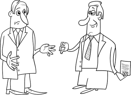 negotiations: Black and White Cartoon Illustrations of Two Businessmen During the Negotiations