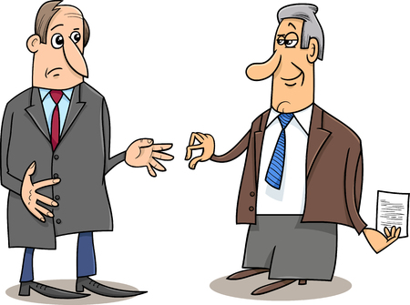 humor: Cartoon Illustrations of Two Businessmen During the Negotiations Illustration