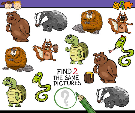 the same: Cartoon Illustration of Find the Same Picture Educational Task for Preschool Children with Animal Characters Illustration