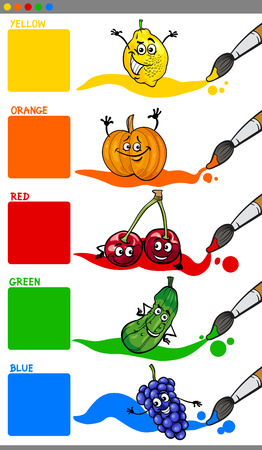 preschoolers: Cartoon Illustration of Primary Colors with Funny Fruits Educational Set for Preschoolers