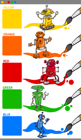 primary colors: Cartoon Illustration of Primary Colors with Robot Characters Educational Set for Preschool Children