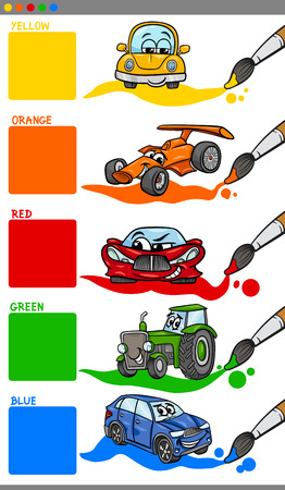 primer: Cartoon Illustration of Primary Colors with Vehicles and Cars Educational Set for Preschool Children