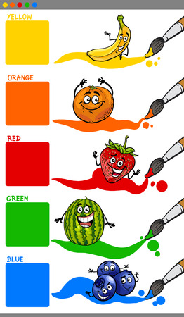 primary colors: Cartoon Illustration of Primary Colors with Funny Fruits Educational Set for Preschool Children Illustration