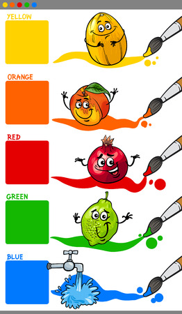 primer: Cartoon Illustration of Main Colors with Funny Fruits Educational Set for Preschool Kids