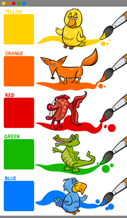 primary colors: Cartoon Illustration of Generic Colors with Animal Characters Educational Set for Kindergarten Illustration