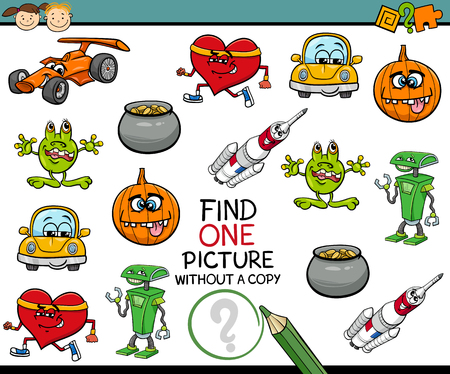 single object: Cartoon Illustration of Finding Single Picture Educational Game for Preschool Children