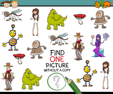 single child: Cartoon Illustration of Finding Single Picture Educational Task for Preschool Children
