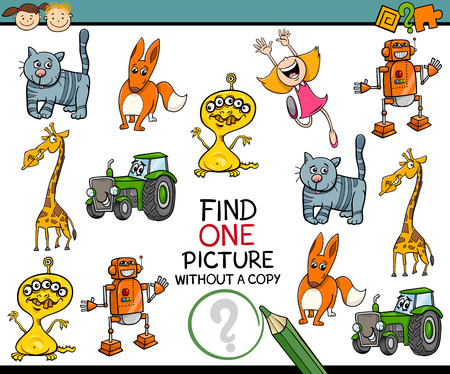 single child: Cartoon Illustration of Looking for Single Picture Educational Task for Preschool Children Illustration