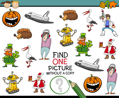 single: Cartoon Illustration of Educational Task of Single Picture Search for Preschool Children Illustration