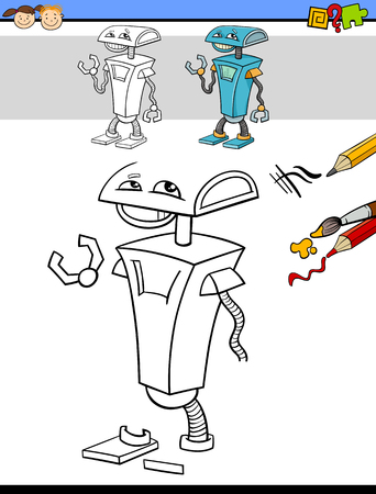 exercise book: Cartoon Illustration of Drawing and Coloring Educational Task for Preschool Children with Robot Fantasy Character Illustration