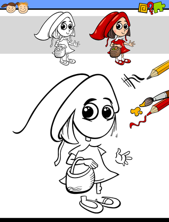 cartoon little red riding hood: Cartoon Illustration of Drawing and Coloring Educational Task for Preschool Children with Little Red Riding Hood Fantasy Character Illustration