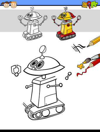 educational: Cartoon Illustration of Finishing and Coloring Educational Task for Preschool Children with Robot Fantasy Character