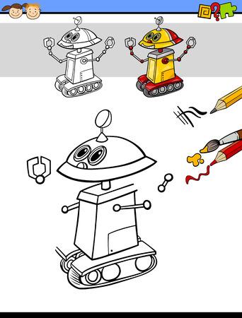 educativo: Ilustración de dibujos animados de Acabado y colorear tarea educativa para niños en edad preescolar con el robot de la fantasía del personaje