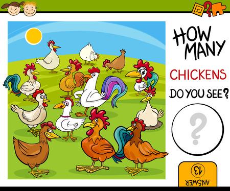 matematica: Ejemplo de la historieta de la Tarea Kindergarten Conteo educativo para niños en edad preescolar Vectores