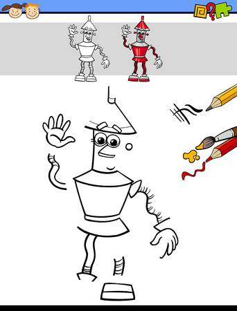child drawing: Cartoon Illustration of Drawing and Coloring Educational Task for Preschool Children with Robot Fantasy Character Illustration