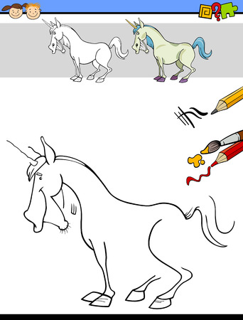 preschool children: Cartoon Illustration of Drawing and Coloring Educational Task for Preschool Children with Unicorn Fantasy Character