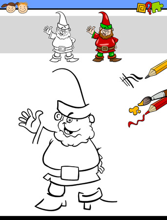 dwarf: Cartoon Illustration of Drawing and Coloring Educational Task for Preschool Children with Dwarf Fantasy Character