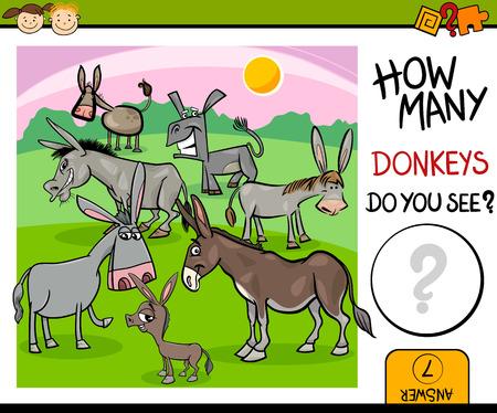 burro: Ejemplo de la historieta de la Tarea Kindergarten Conteo educativo para niños en edad preescolar con Burros Granja