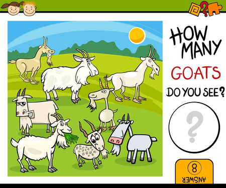 mathematics: Cartoon Illustration of Kindergarten Educational Mathematical Task for Preschool Children with Goats