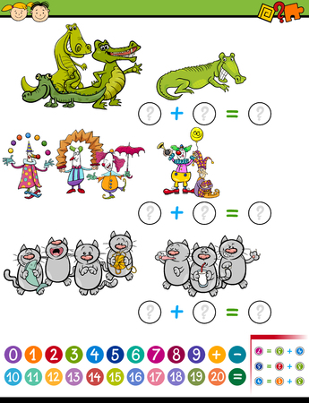 enumerate: Cartoon Illustration of Education Mathematical Calculating Task for Preschool Children with Funny Characters
