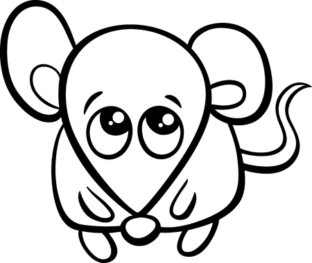 cute mouse: Black and White Cartoon Illustration of Cute Little Mouse Animal Character for Coloring Book Illustration