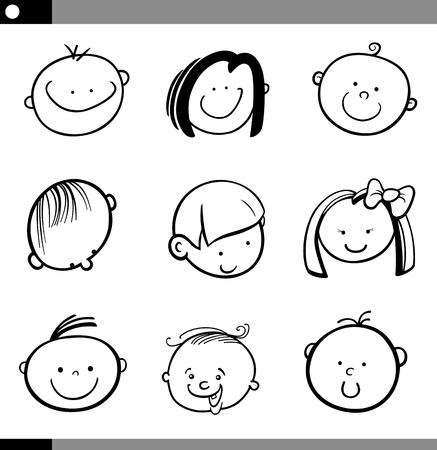 niños negros: Dibujos animados de blanco y negro Ilustración de niños o bebés lindos Caras Conjunto