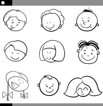 cartoon faces: Black and White Cartoon Illustration of Cute Children Faces Set