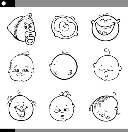 baby face: Black and White Cartoon Illustration of Cute Babies Faces Set Illustration