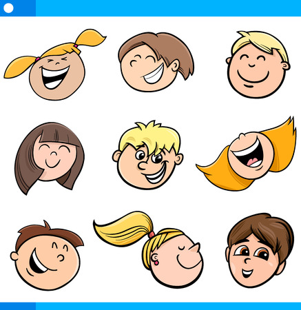 happy kids: Cartoon Illustration of Happy Kids Faces Set