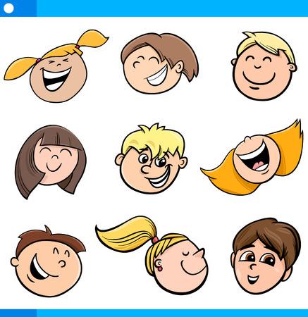 caras felices: Dibujos animados Ilustración de felices los niños se enfrenta a configurar Vectores