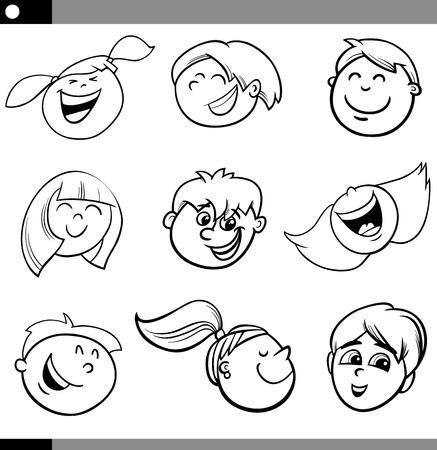 cartoon faces: Black and White Cartoon Illustration of Happy Children Faces Set Illustration