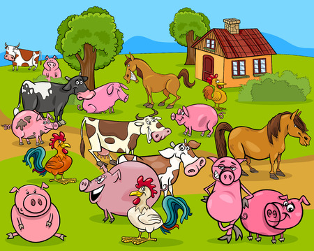 farm animal cartoon: Cartoon Illustration of Country Scene with Farm Animals