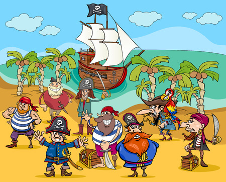 treasure: Cartoon Illustrations of Fantasy Pirate Characters on Treasure Island
