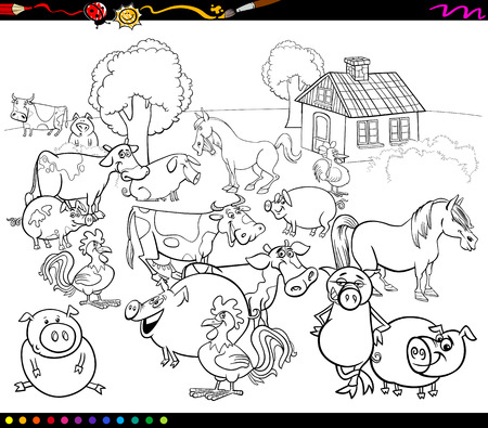 livestock: Black and White Cartoon Illustration of Country Scene with Farm Animals for Coloring Book