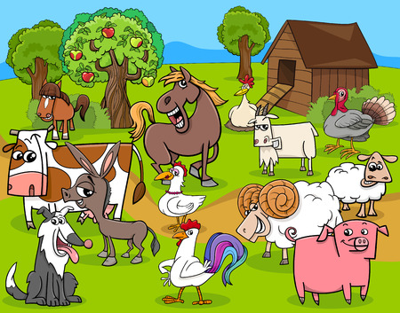 farm animal cartoon: Cartoon Illustration of Farm Animal Characters Group
