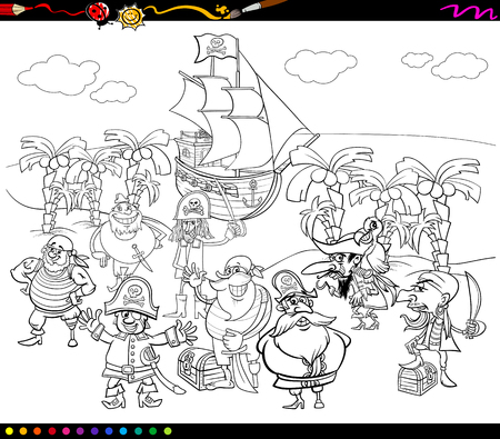 island cartoon: Black and White Cartoon Illustrations of Fantasy Pirate Characters on Treasure Island for Coloring Book
