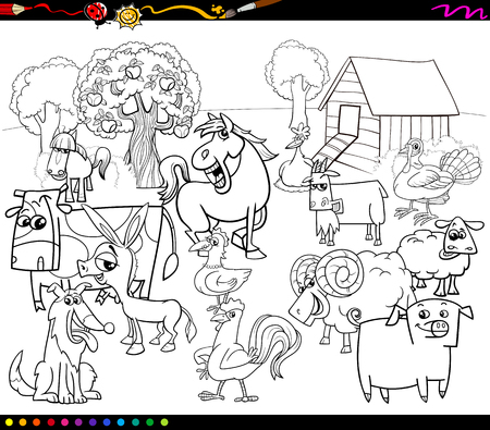 oveja negra: Ilustraci�n de dibujos animados Blanco y Negro de caracteres del animal del campo de grupo para colorear libro