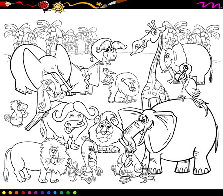 cheerful cartoon: Black and White Cartoon Illustration of Scene with African Safari Animals Characters Group for Coloring Book
