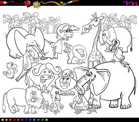 animales safari: Dibujos animados de blanco y negro Ilustración de la escena con African Safari Animales Caracteres Grupo de Coloring Book Vectores