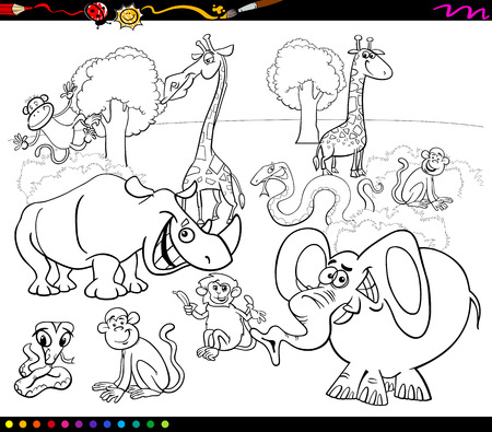 black tree: Black and White Cartoon Illustration of Scene with African Safari Animals Characters Group for Coloring Book