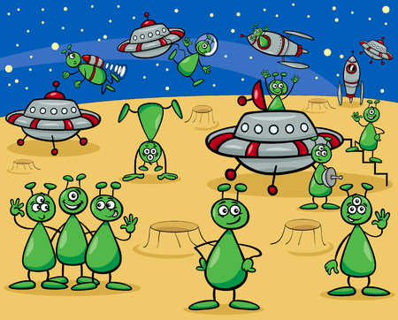 Cartoon Illustrations of Fantasy Aliens or Martians Characters Group with Ufo