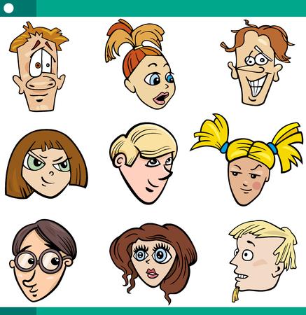 cartoon faces: Cartoon Illustration of Teenagers Girls and Boys Faces Set Illustration