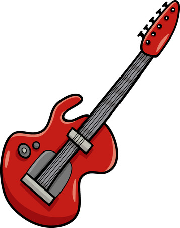 Cartoon Illustration of Electric Guitar Musical Instrument Clip Art