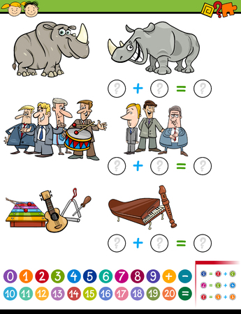 mathematics: Cartoon Illustration of Educational Mathematical Addition Task for Preschool Children with Funny Characters and Objects