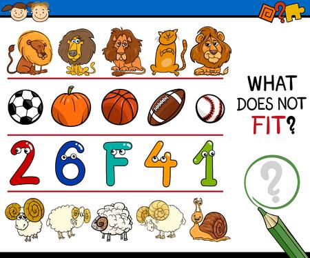improper: Cartoon Illustration of Finding Improper Item in the Row Educational Task for Preschool Children