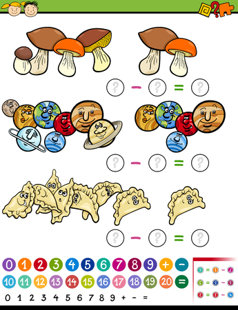 resta: Cartoon Illustration of Educational Mathematical Subtraction Task for Preschool Children Vectores
