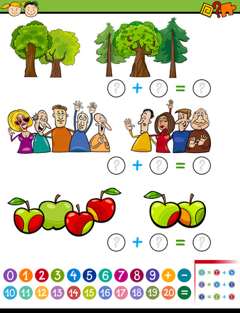 cartoon math: Cartoon Illustration of Educational Mathematical Addition Task for Preschoolers with Characters and Objects