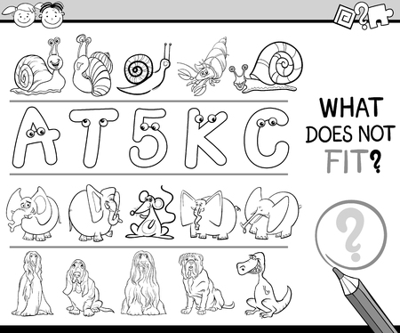 inadequate: Black and White Cartoon Illustration of Finding Improper Item in the Row Educational Game for Preschool Children with Animal Characters Illustration